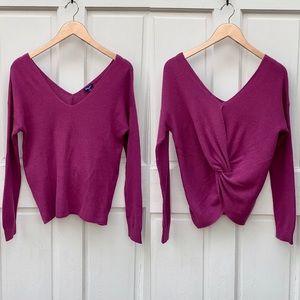 Splendid Fuchsia Twist Back V-Neck Sweater Sz M